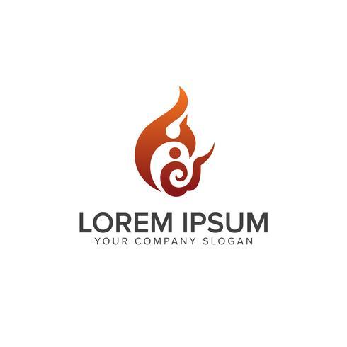Flammen-Leute-Feuer Logo Design Template vektor