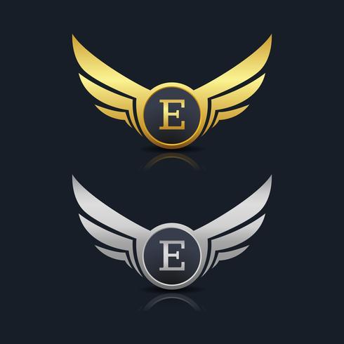 vingar sköld brev e logotyp mall vektor