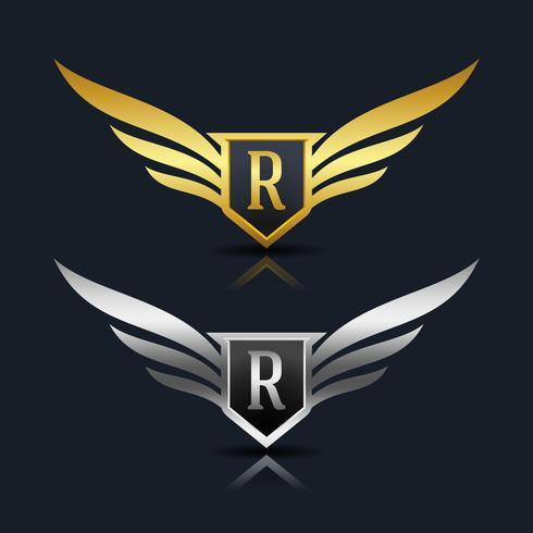 Wings Shield Letter R Logo Mall vektor