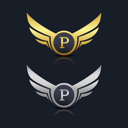 Buchstabe P Emblem Logo vektor