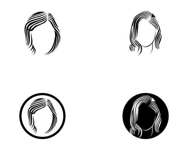 hårkvinna och ansiktslogo och symboler vektor