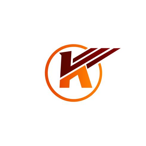 brev k vingar logo design koncept mall vektor