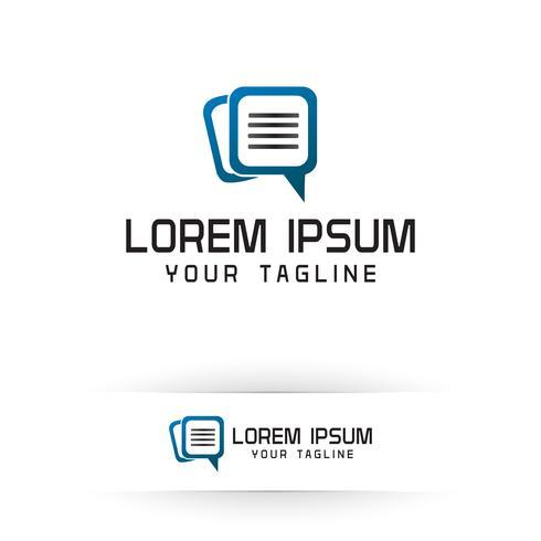 dokument chat-logotyp. Business och Consulting logo design koncept mall vektor