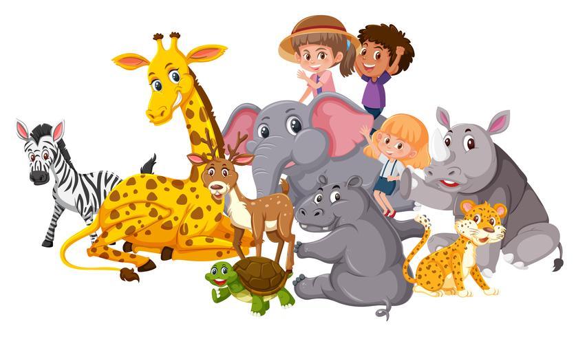Wilde Tiere und Kinder vektor