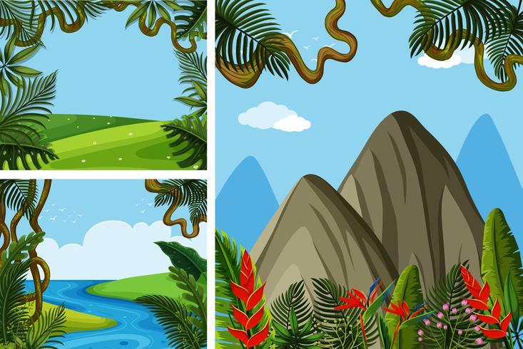 Tre scener av fält och berg vektor