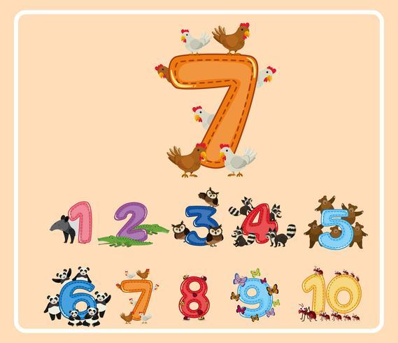 Nummer sju och andra nummer med djur vektor