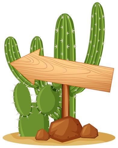 Trä tecken på kaktus växt vektor