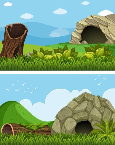 Två scener med grotta på fältet vektor