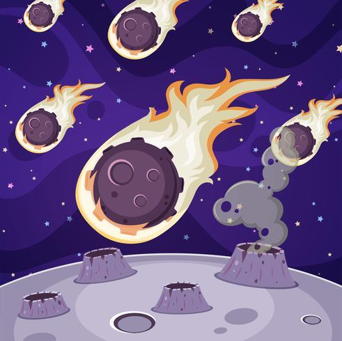 Viele Kometen im dunklen Raum vektor