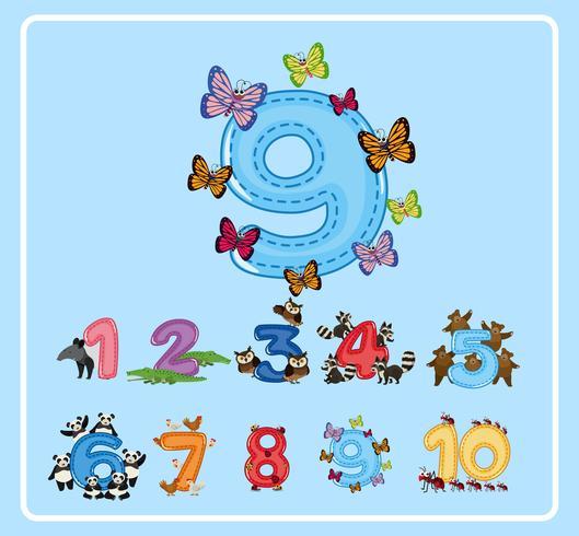 Flashcard design för nummer nio med fjärilar vektor