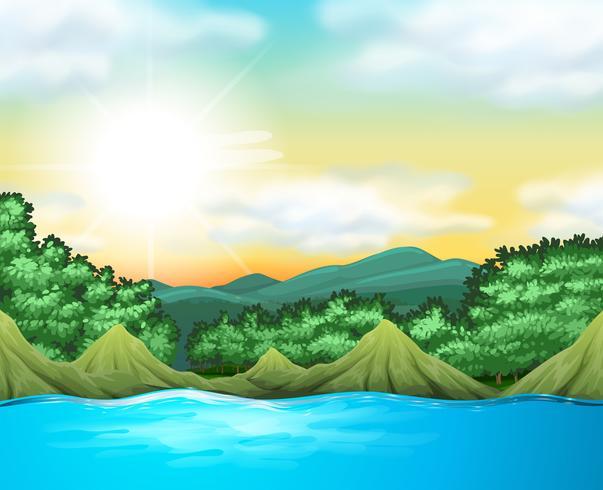 Naturszene mit Bäumen und See vektor