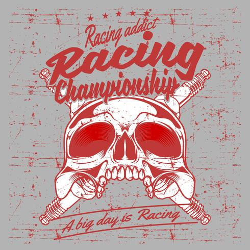 grunge stil vintage skalle och tändstift racing champion handrit vektor
