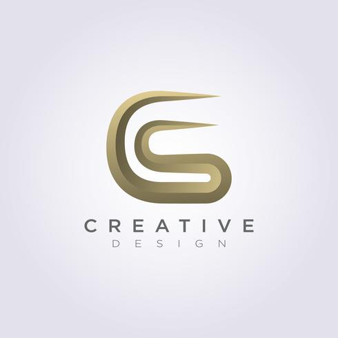 Brev CS Lyxig Vektor Illustration Design Clipart Symbol Logo Mall