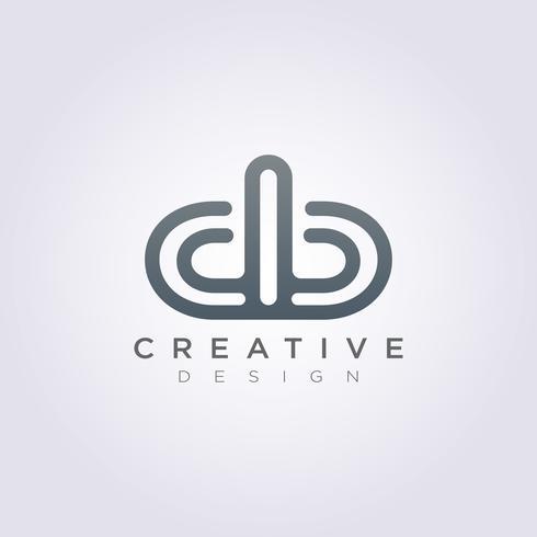 Letter db Lycklig Vektor Illustration Design Clipart Symbol Logo Mall