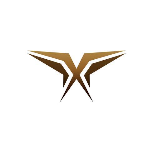 lyx brev x logo design koncept mall vektor