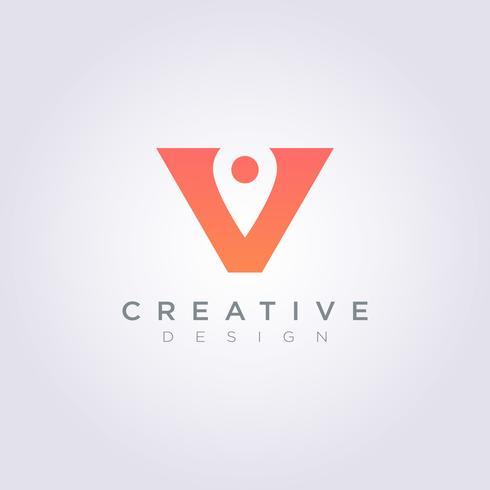 Vektor-Illustrations-Design Clipart Symbol Logo Template Pin Position Letter V vektor