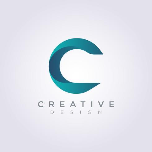 Brev C Vektor Illustration Design Clipart Symbol Logo Mall