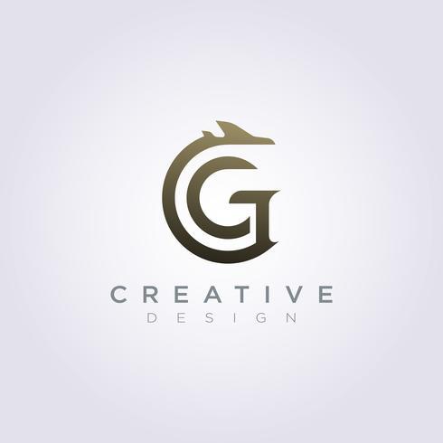 Brev G med flygplan Vektorillustration Design Clipart Symbol Logo Mall vektor