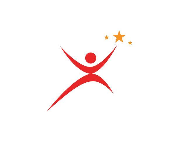 Erfolg Menschen sorgen Logo und Symbole Vorlage vektor