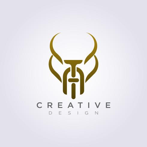 Brev TA Animal Horn Sammanfattning Vektor Illustration Design Clipart Symbol Logo Mall