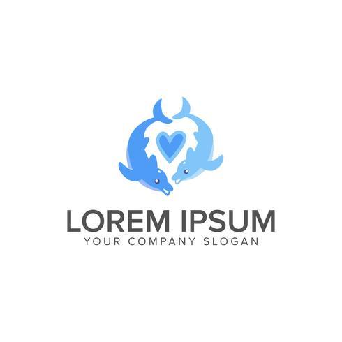 Paar Delphin-Logo-Design-Konzept-Vorlage vektor