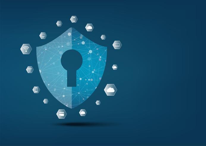 Internet Security Online-Konzept. Vorhängeschloss mit Schlüsselloch-Symbol in. Persönliche Datensicherheit Veranschaulicht die Idee der Cyber-Datensicherheit oder des Datenschutzes. Blaue abstrakte hallo Geschwindigkeitsinternet-Technologie. vektor