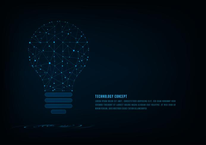Technologiekonzept. Polygonale Form der Glühlampe einer künstlichen Intelligenz mit Linien und glühenden Punkten und Schatten über dem dunkelblauen Hintergrund. vektor