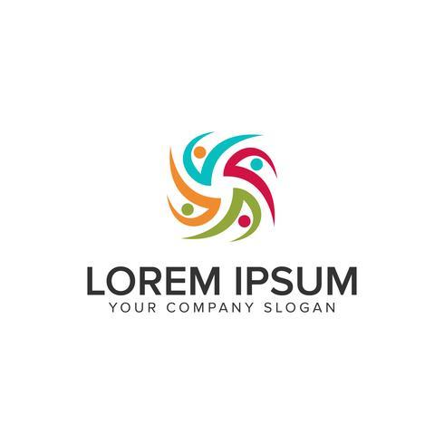 folk nätverk partners logo design koncept mall vektor