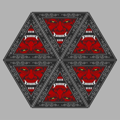 Dämon-Teufel-Maskottchen-Kopf-Vektor Illu vektor