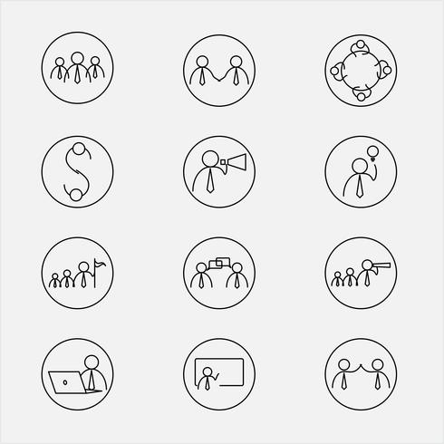 Vektor illustration av linje ikoner för affärsverksamhet.