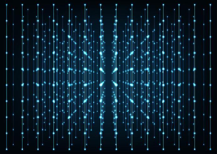 Blå glödande anslutningar i rymden med partiklar. Koncept av nätverk, internetkommunikation, data. vektor