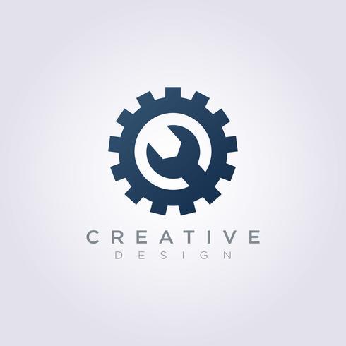 Gang-Kreis-Mechaniker Vector Illustration Design Clipart-Symbol Logo Template