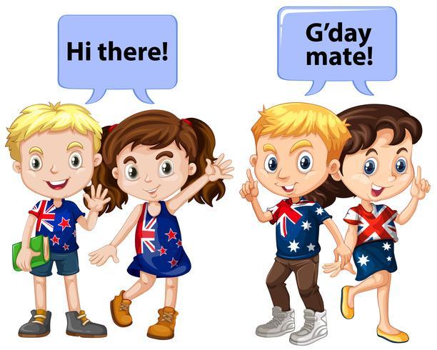 Kinder aus Neuseeland und Australien vektor