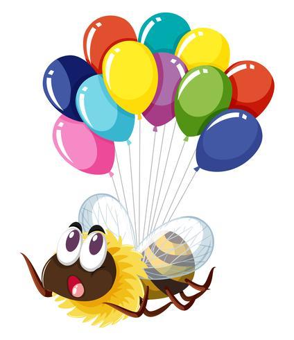 Bee flyger med många ballonger vektor