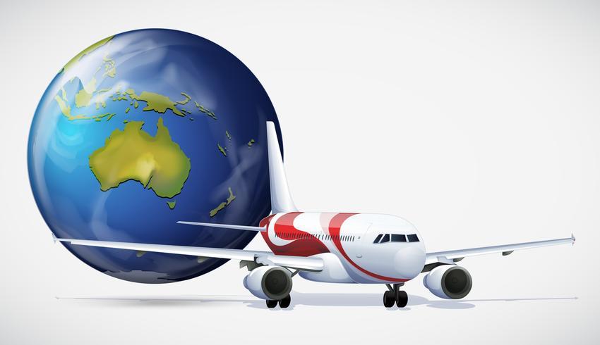 Flygplan och världen på vit bakgrund vektor
