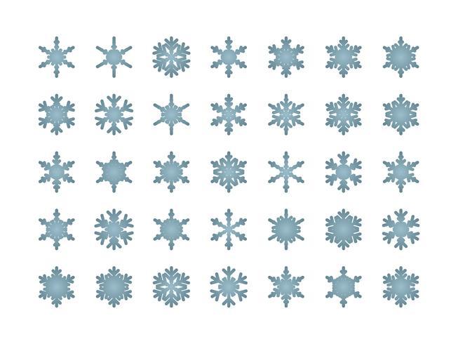 Schneeflocken isoliert Set vektor