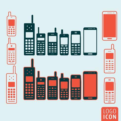 Mobiltelefon ikon isolerad vektor