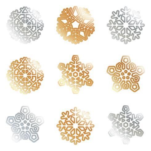 Schneeflocken Silber Gold vektor