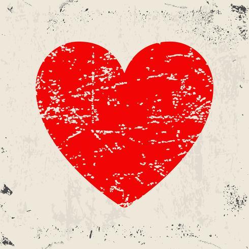 Grunge rött hjärta vektor