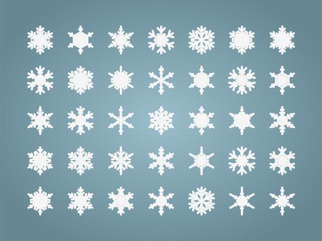 Snöflingor isolerade uppsättning vektor