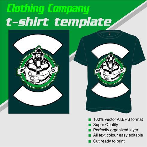 T-Shirt Schablone, völlig editable mit Gewehrvektor vektor