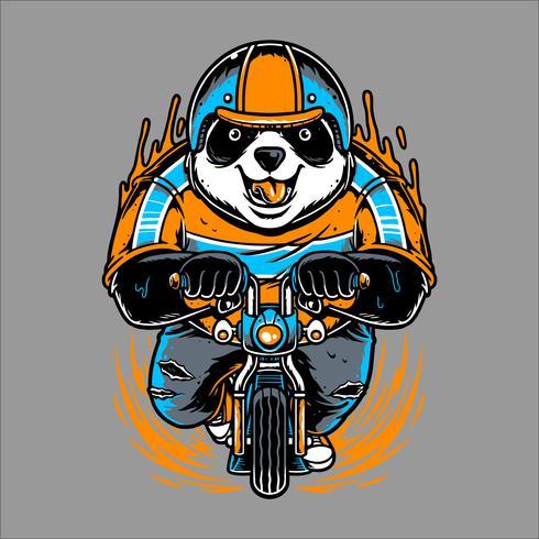 panda ridning cykel handrit vektor