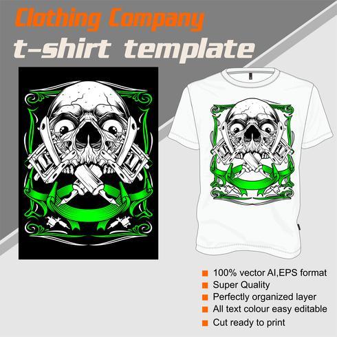 T-shirt mall, helt redigerbar med skalle tatuering maskin vektor