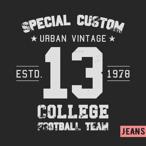 College Team Vintage Briefmarke vektor