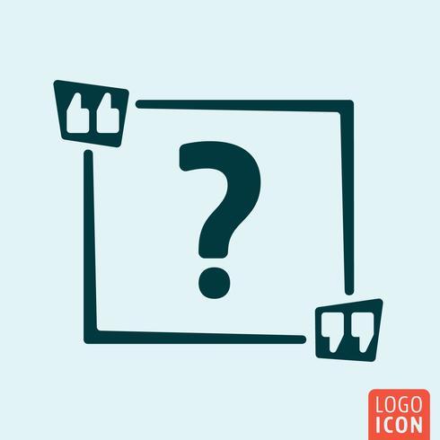 Citat kvadrat Ikon. Citat med ask tecken vektor