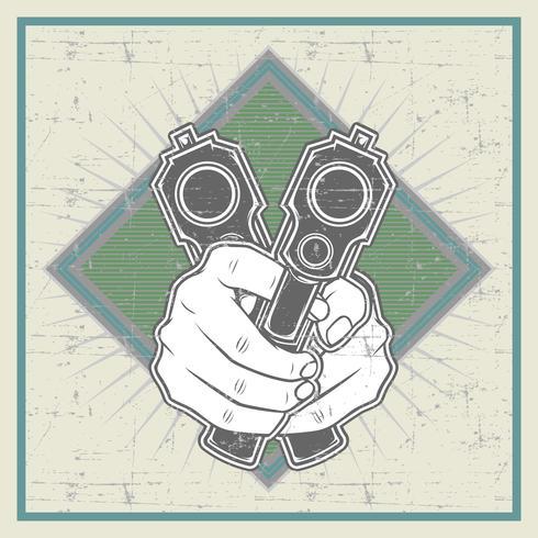 grunge stil hand som håller pistol -vector vektor