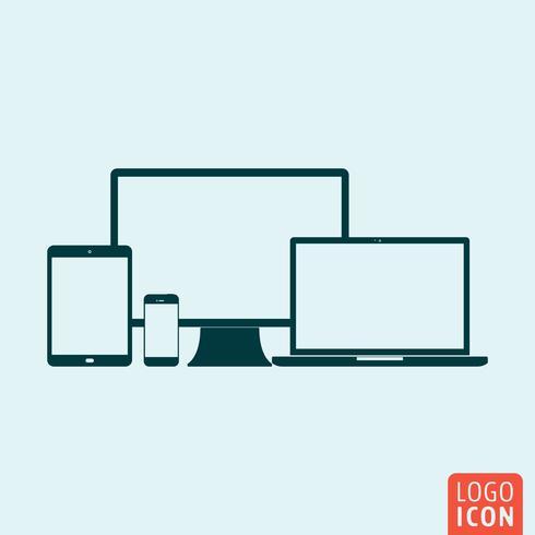Dator PC-skärm, smartphone, tablett, bärbar ikonuppsättning. vektor
