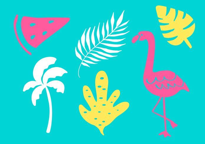 Tropische Sammlung für exotische Blätter, Bäume, Flamingos und Früchte des Sommerstrandfestes. Lokalisierte Elemente des Vektors Design auf dem weißen Hintergrund vektor
