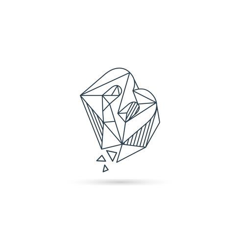 Logo-Designikonenschablonen-Vektorelement des Edelsteinbuchstaben b lokalisiert vektor