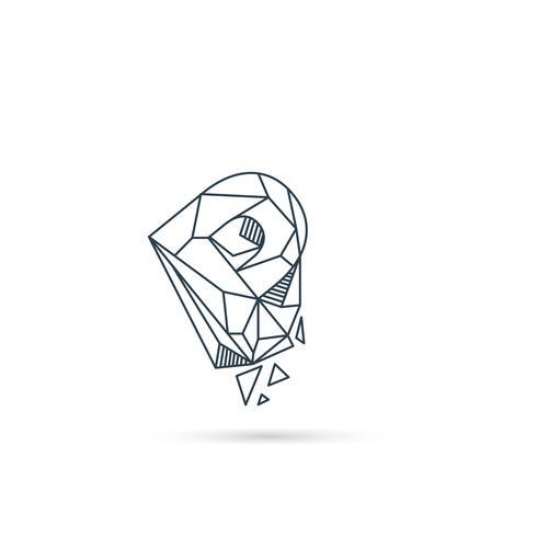 Logo-Designikonenschablonen-Vektorelement des Edelsteinbuchstaben p lokalisiert vektor